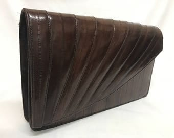 Vintage Exotic Brown Eel Skin Envelope Clutch Leather Handbag 80s