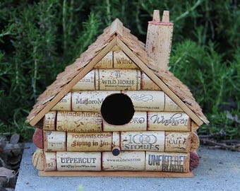 Wine cork birdhouse, wine cork art