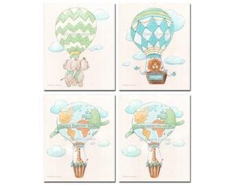 Travel Themed Nursery Wall Art, Safari Nursery Prints, Baby Animal Prints, Elephant Lion Giraffe, Personalized Art, Jungle Baby Shower Gift