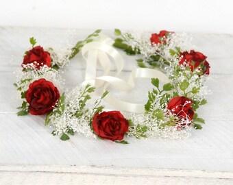 Woodland Crown Wedding Flower Crown Floral Halo Boho Wedding Hair Piece Bridal Flower Crown Flower Hair Wreath Rustic Wedding Floral Crown