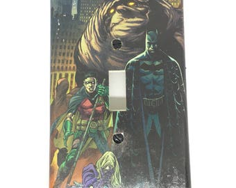 Upcycled Comic Book Light Switch Cover - Batman and Robin