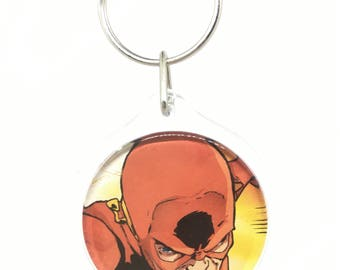 Upcycled Comic Book Keychain Featuring - The Flash