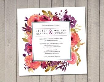 Scarlet Floral Wedding Invitation (Printable) DIY by Vintage Sweet