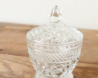 Vintage Pressed Glass Jar Jelly Condiment Server Sugar Bowl Lid Candy Jar