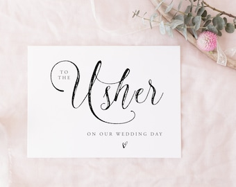 Printable To The Usher Instant download | wedding party card, bridal party card digital download, on my wedding day, thank you card