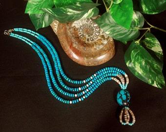 Genuine Turquoise Necklace, Shaman Necklace, Native American Jewelry Style Southwest Jewelry,Long Turquoise Necklace, Turquoise Pendant