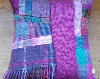 Patchwork Tweed Cushion in bright pinks, purples and checks. Homemade, Unique and made in Scotland.