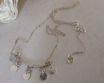 Modern Minimalist Sterling Silver Disc Smile Bar Necklace