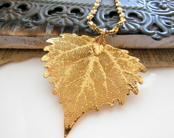 Vintage Yellow Gold Plated Real Leaf Organic Nature Pendant Necklace XX26