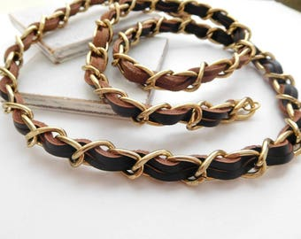 "Retro Vintage Long Chocolate Brown Leather Gold Tone Metal Braid 36"" Necklace"