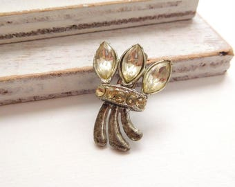 Antique Art Nouveau Small Clear Rhinestone Flower Bunch Brooch Pin Jewelry