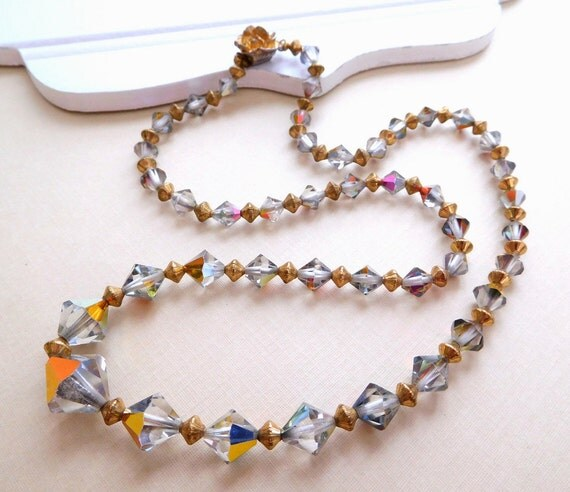 Vintage Smoke Gray Crystal Antiqued Gold Tone Bead Rose Clasp Necklace D29