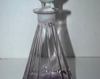 on sale Purple glass decanter with clear round stopper vintage glass  elegant barware