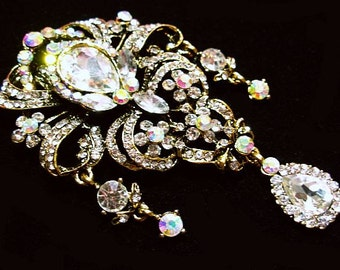 "Designer Brooch Pink AB Clear Rhinestones Dangle Style Huge Gold Metal  4"" Vintage"