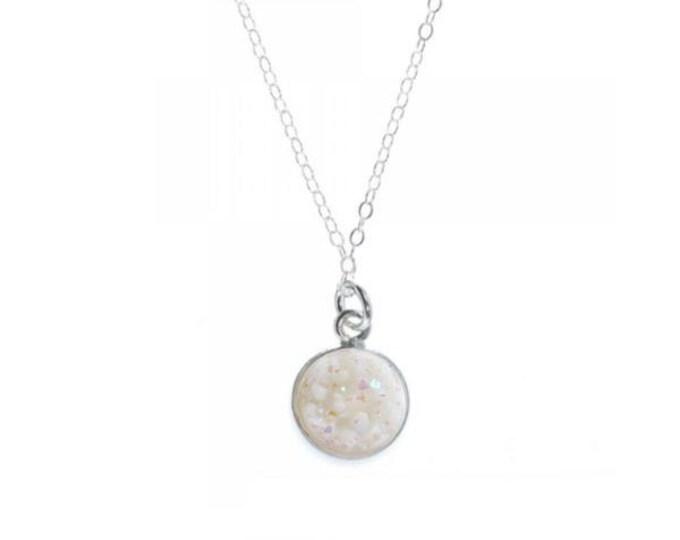 12mm White Druzy Necklace