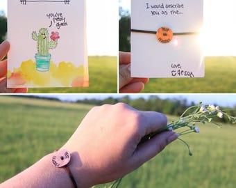 Gift for teachers, teacher gift, best teacher,cactus card,graduation gift,card for teachers,personalized teacher gift, personalized bracelet