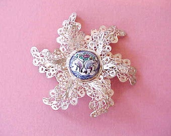 Beautiful and Exotic Persian Silver Filigree Brooch with Ceramic Cabochon
