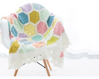 Lily Granny Blanket / Handmade Crocheted Afghan / Ice-cream Color Blanket / Throw Blanket / Crocheted Blanket