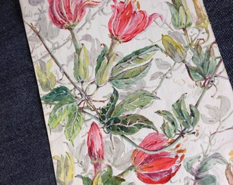 French Antique 1910s water color flowers  garland painting original