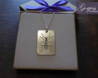 Silver Ant Insect Pendant Necklace, Satin