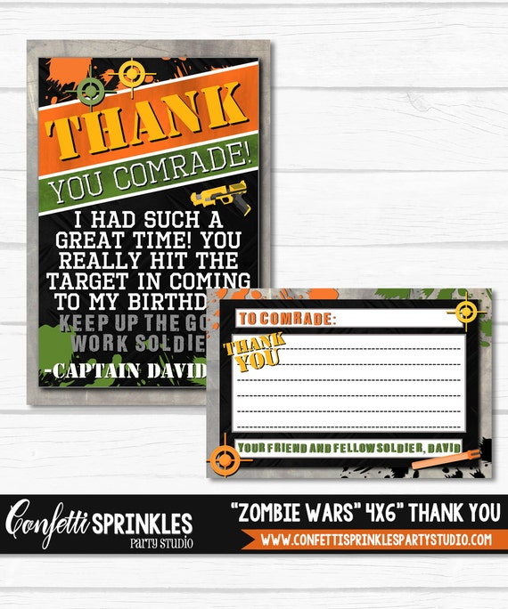 Zombie War Dart Tag Boys Birthday Party Digital Printable 4x6 Thank You Card Fill In