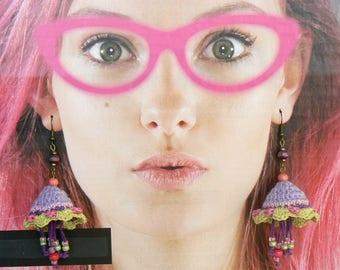 Dangle Drop Earrings, Flower long earrings, 3D crochet flowers, Big Blossom textile earrings, Floral design, Bohemian purple pink earrings