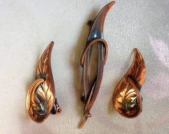 Vintage copper leaf earrings and brooch