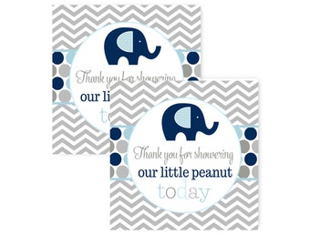 Navy Elephant Party Favor Tags - Boys Baby Shower -- Labels -- Little Peanut --Celebration --Sticker Download -- Printable Tag (NAVELEB)