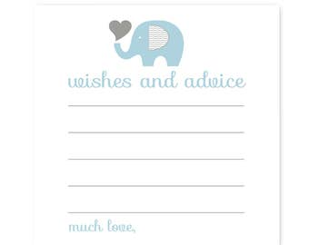 Elephant Baby Shower Wishes and Advice Card -- Blue & Grey -- Fill In Game -- Baby Boys -- Party Activity -- Keepsake -- Printed Set 25pc.