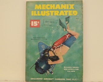 Mechanix Illustrated Magazine, July 1951 - Great Condition, Tips,  Science, Technology, Hundreds of Vintage Ads - Frank Tinsley Pulp Art