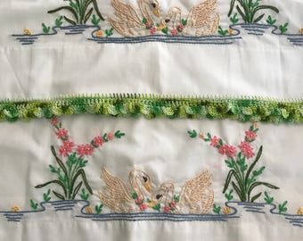 Vintage Hand Embroidered swan Pillow Case Set