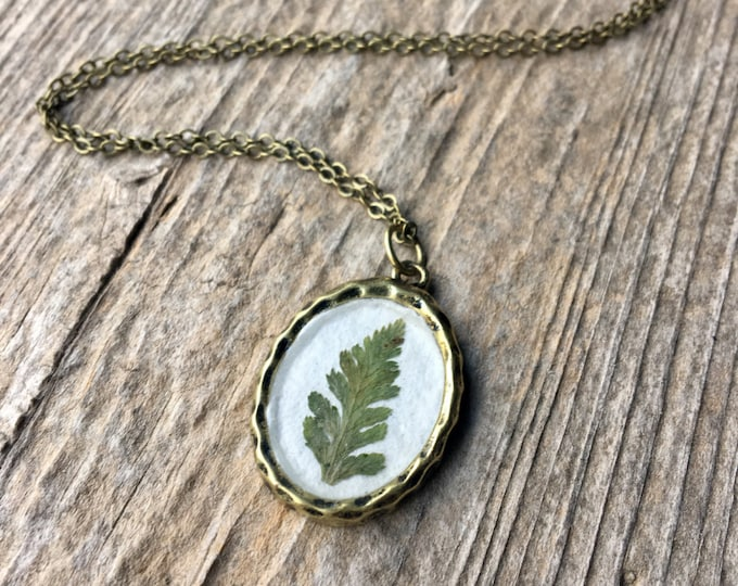 Antiqued Oval Real Fern Frond Pendant Necklace