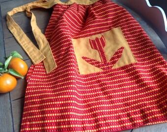 Orange Floral Retro Half Apron With Cute Cut Out Tulip Pocket