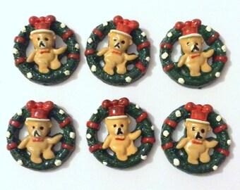 Christmas Needle Minder, Teddy Wreath Needle Minder, Festive Needle Keep, Pin Holder, Fridge Magnet, Pin Minder, Needle Holder, Needle Keep