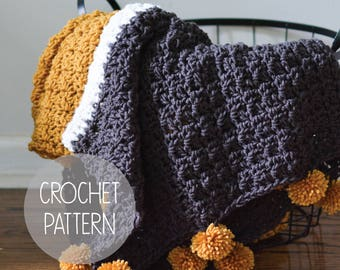 crochet pattern - pom throw blanket - the Piper Throw