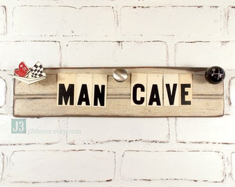 MAN CAVE Wall Sign, Auto Themed Decor, Salvaged Wood Shelf Plaque, Repurposed Vintage Tin Letters, Distressed Off-White Paint Surface, Retro