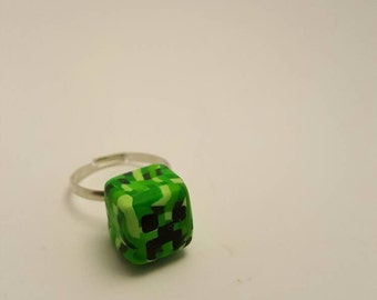Minecraft Creeper Handmade Polymer Clay Ring - Pixel Monster