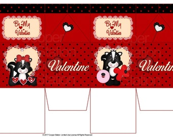 Digital Printable Milk Box - Valentine - Treat Box
