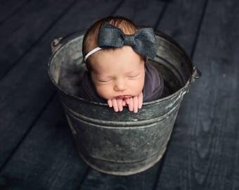 Baby Headband, Baby Bows, Baby Girl Headband, Felt Bow Headband, Nylon Headband, Baby Hair Bows, Newborn Headband, Baby Girl, Hair Clips