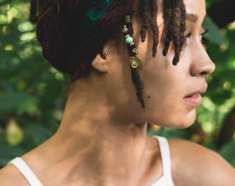 EVERGREEN Green Grass Agate & Garnet Loc Jewelry