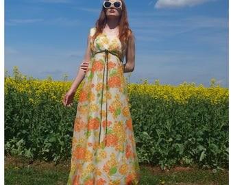 Vintage Floral 60s Gown Maxi Dress Orange / Yellow Flowers