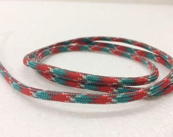 paracord 1.1 Yards (1 meter) red and green Bracelet cord, Decorative Cord, braided cords, Parachute Round Cord, Colorful cord, 4mm wide