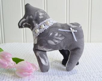 Fabric Dala horse, folk art, vintage inspired, grey padded horse ,swedish dala hast