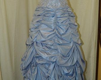 Prom Vintage Dress Periwinkle Mauve, strapless dress beaded bodice A line shirred pleads skirt, prom, XV dress, Blue Wedding Dress