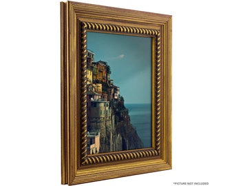 Craig Frames, 13x19 Inch Rustic Antique Gold Picture Frame, Barnwood Ornate (778454001319)