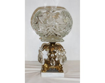 Centerpiece Comport Pressed Glass Globe Shaped Bowl Hanging Prisms Gold Tone Paw Footed Stand Marble Base