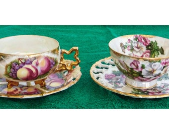 2 Royal Sealy Tea Cups & Saucers Peaches Grapes Florals Iridescent Gold Leaf