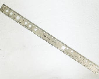 """18"""" Forms Design Ruler Systems Analysis Graphic Arts Stainless Steel"""