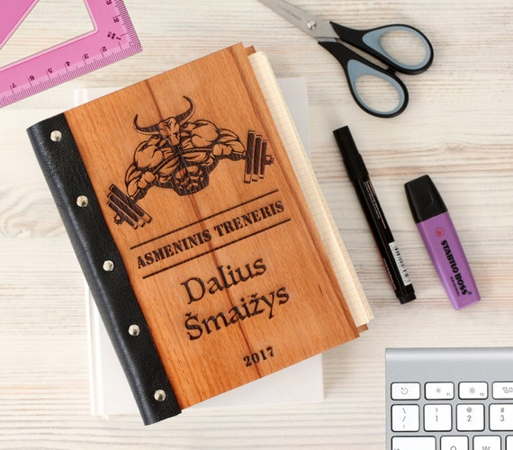 GYM Wooden notebook - Body-building notebook - Custom Notebook - Personalized Engraved