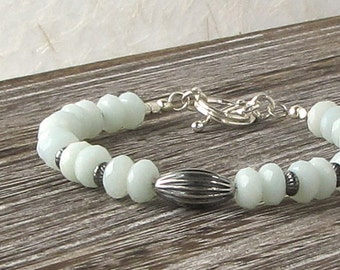 Amazonite Natural Stone Beaded Bracelet, Amazonite Bracelet, Beaded Silver Bracelet, Light Blue Stone Beaded Bracelet, Beaded Stacking